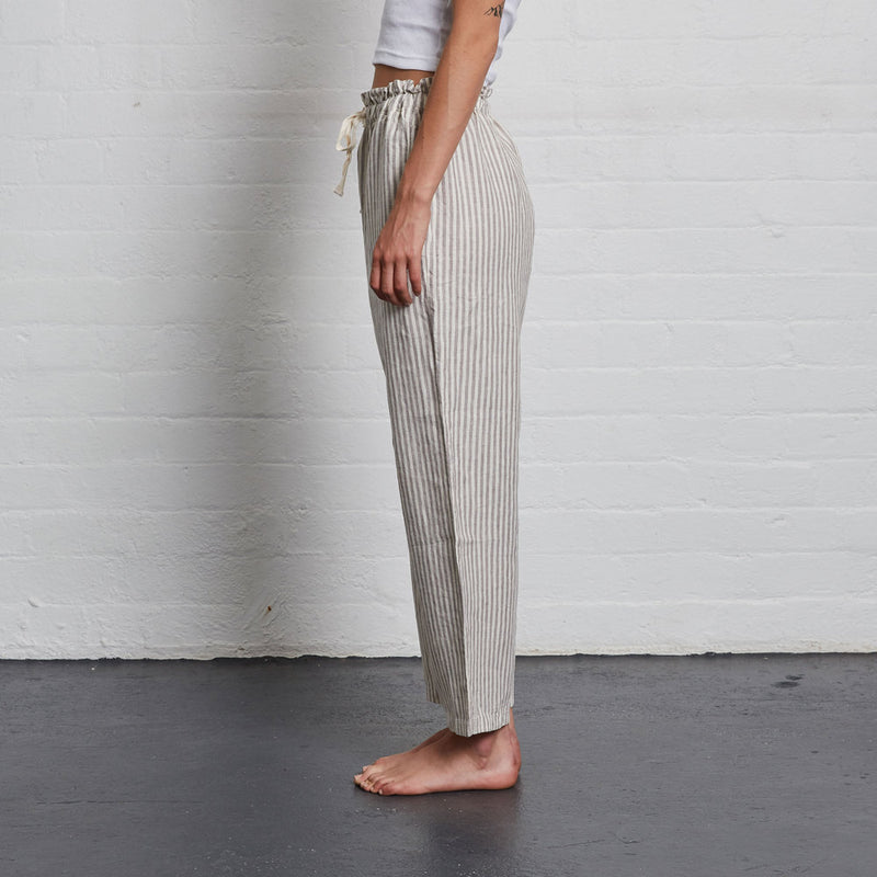 100% Linen Pants in Grey & White Stripe