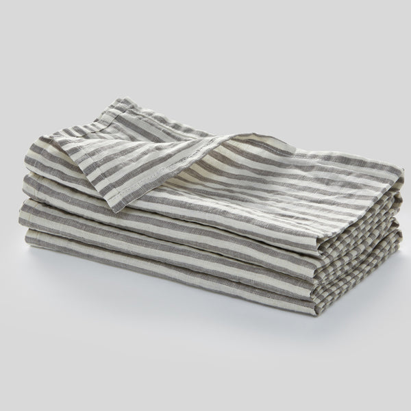 100% Linen Napkin Set in Grey & White Stripe