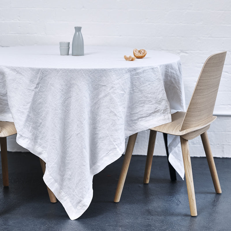 100% Linen Table Cloth In White