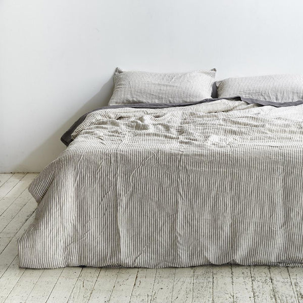 Linen Duvet Cover in Grey & White Stripe