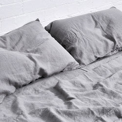 100% Linen Flat Sheet in Cool Grey