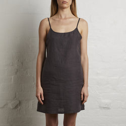 100% Linen Slip Dress in Kohl
