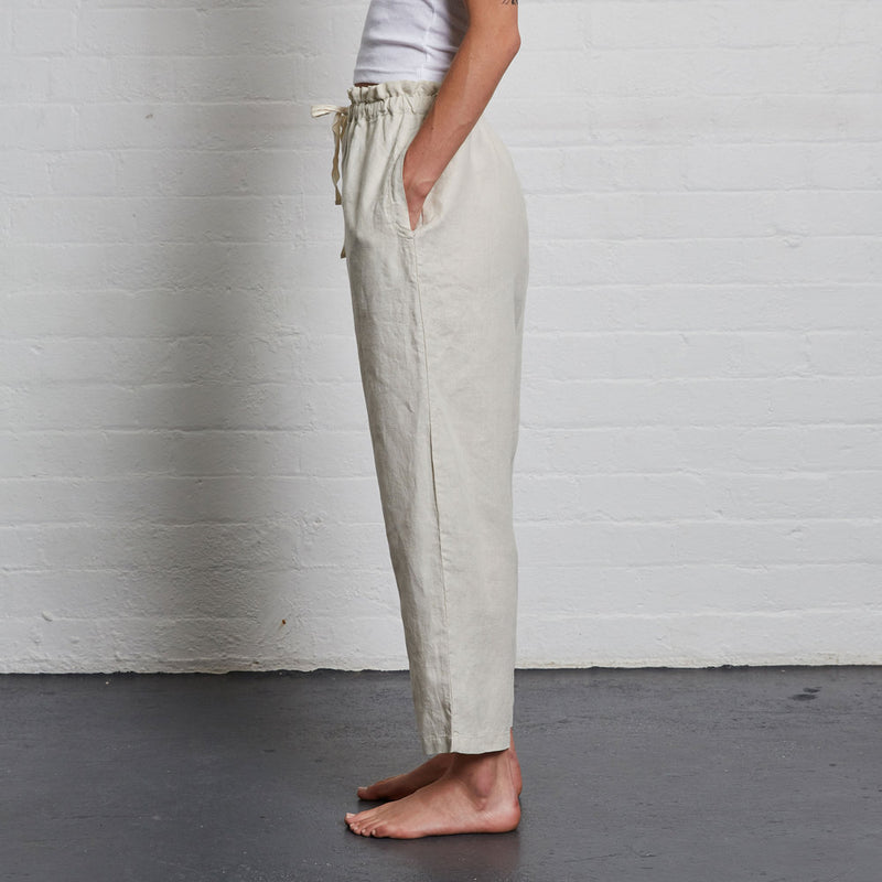 100% Linen Pants in Dove Grey