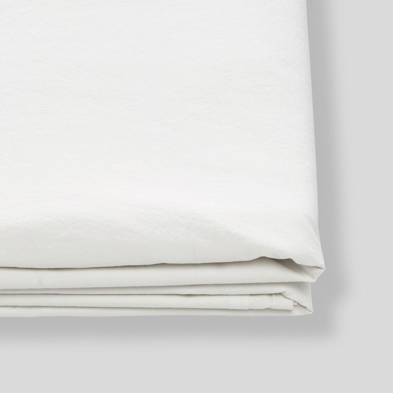 Washed Cotton Flat Sheet in Chalk