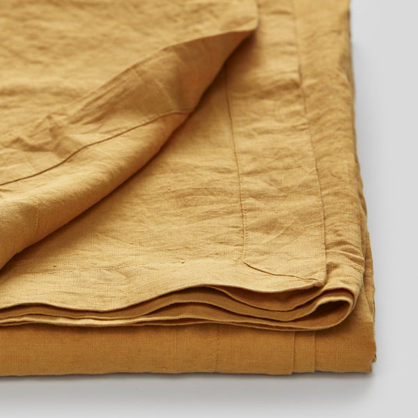 100% Linen Table Cloth In Mustard