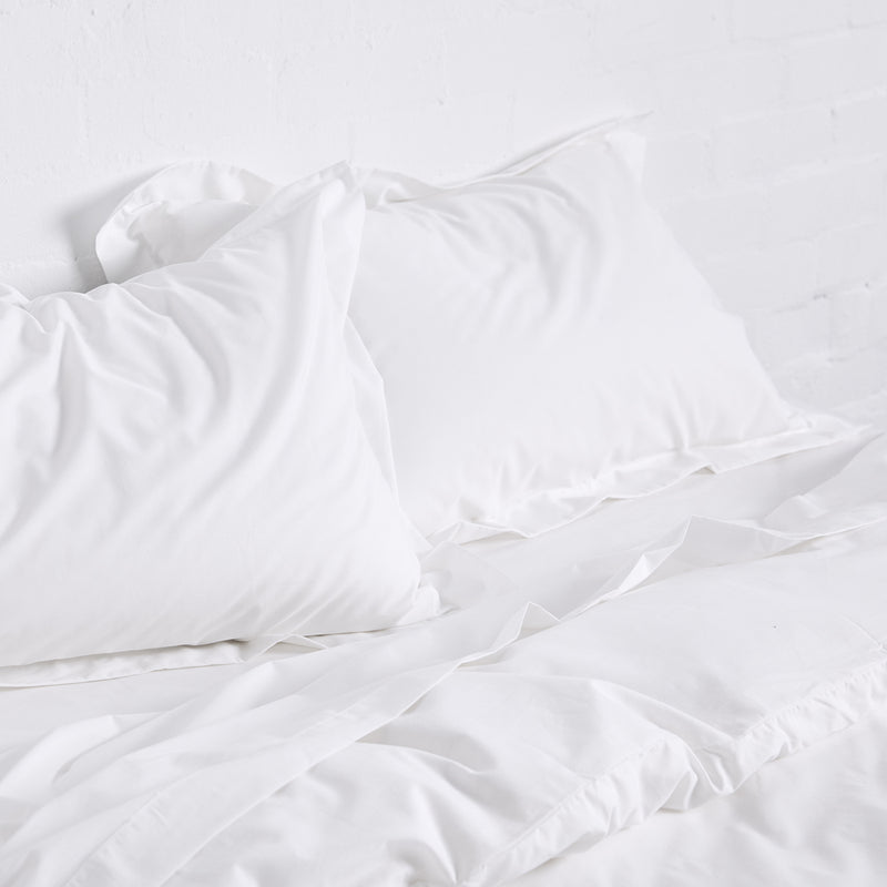 Percale Cotton Flat Sheet in White