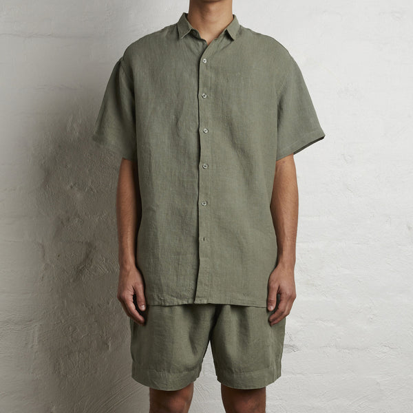 100% Linen Short Sleeve Shirt in Khaki - Mens