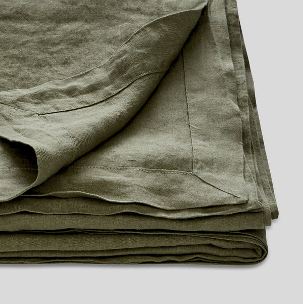 100% Linen Table Cloth in Khaki