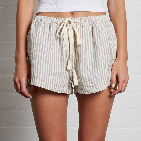 100% Linen Shorts in Stripe