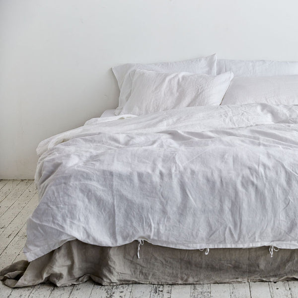 100% Linen Duvet Cover in White