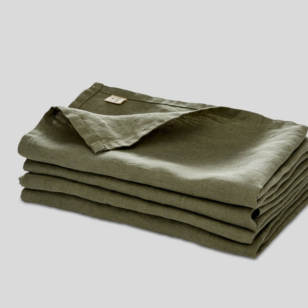 100% Linen Napkin Set in Khaki
