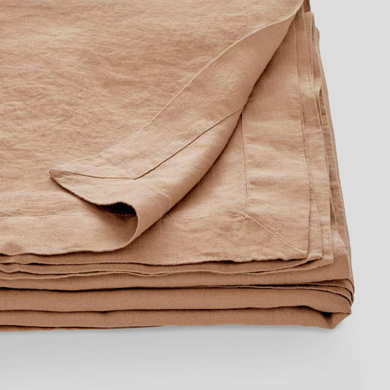 100% Linen Table Cloth in Chestnut