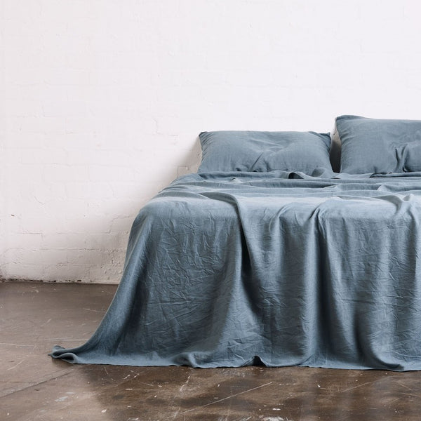 100% Linen Flat Sheet in Lake