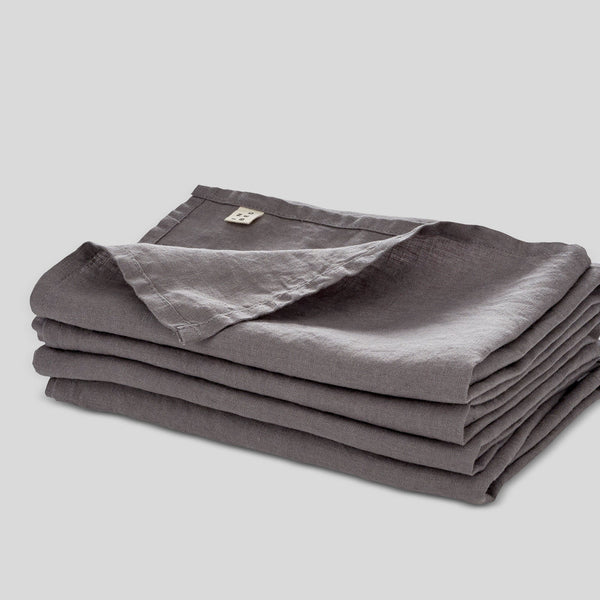 100% Linen Napkin Set in Charcoal