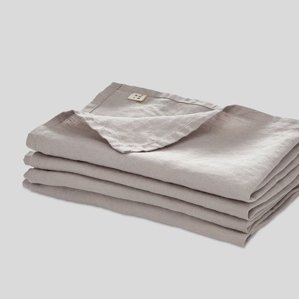 100% Linen Napkin Set in Cool Grey