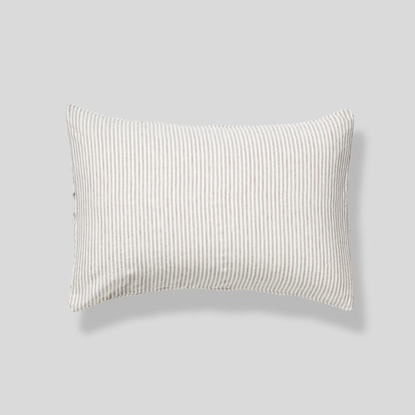 100% Linen Pillowslip Set (of two) in Grey & White Stripe