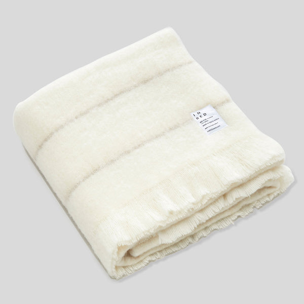 Alpaca throw rug in Ivory & Stripe