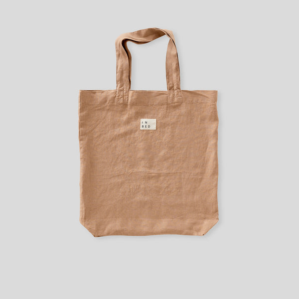 100% Linen Market Bag in Chestnut