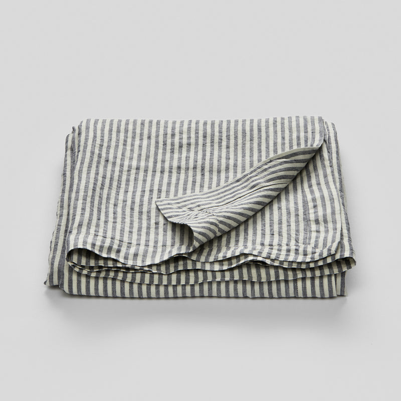 100% Linen Table Cloth In Blue & White Stripe