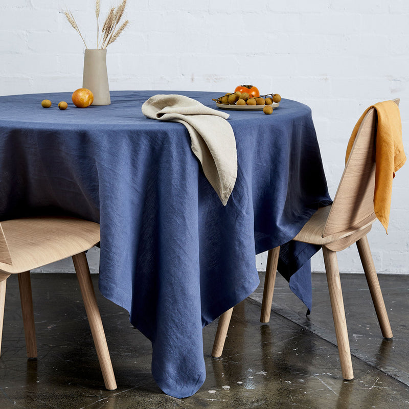 100% Linen Table Cloth In French Blue