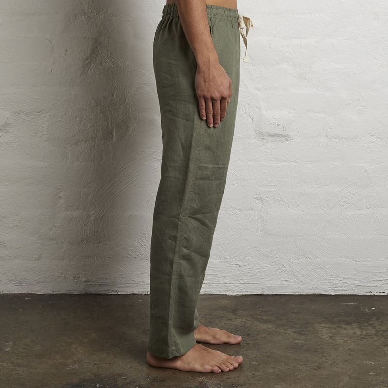 100% Linen Pants in Khaki - Mens