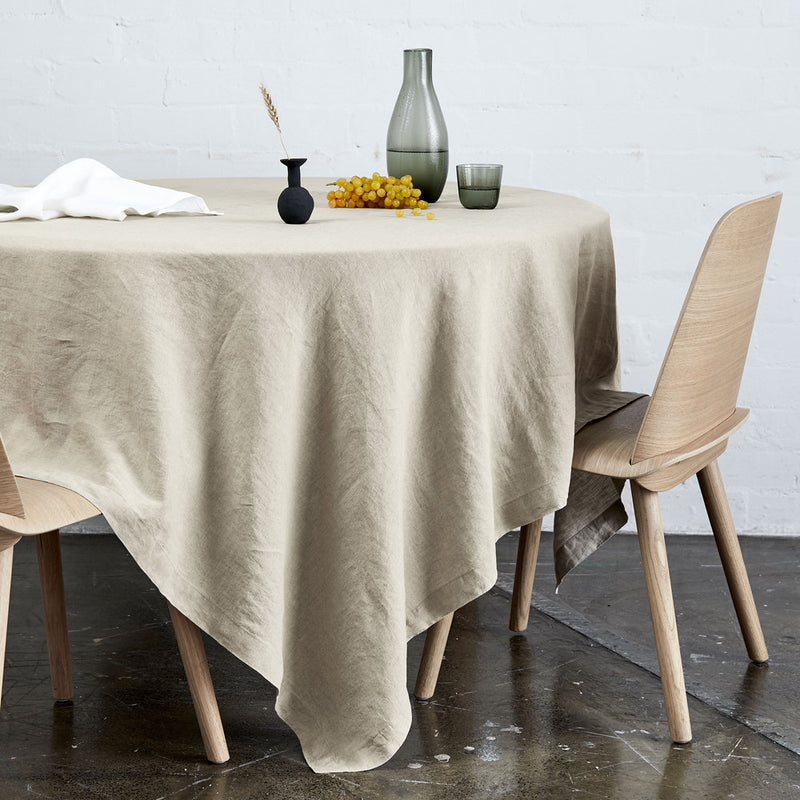 100% Linen Table Cloth In Natural