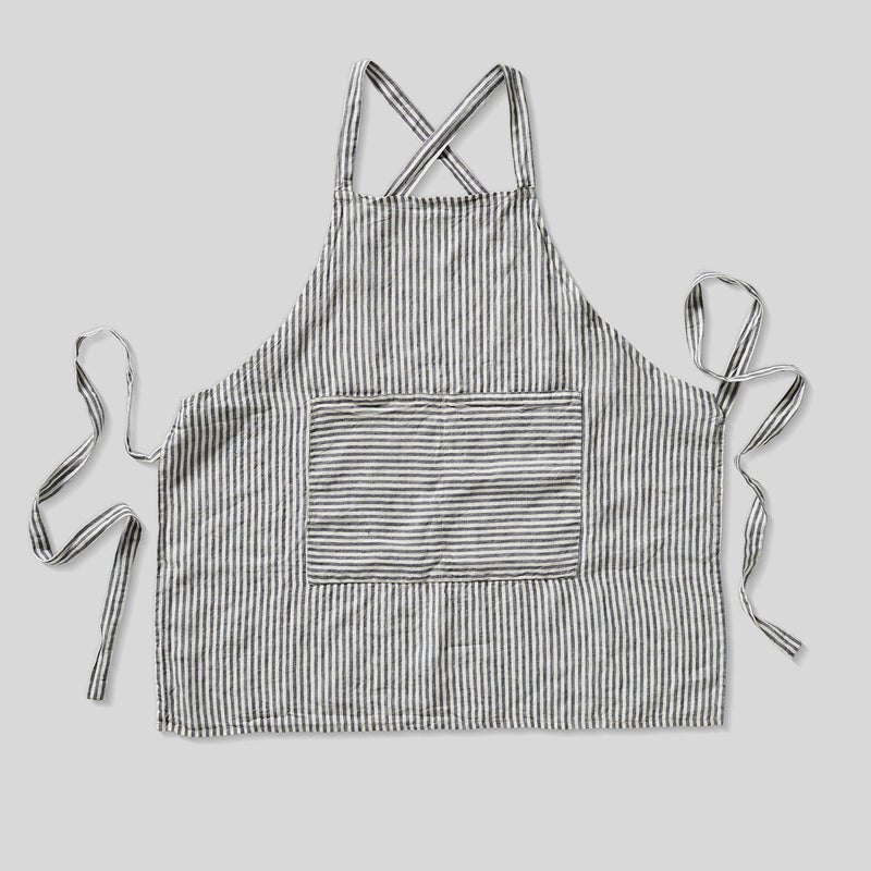 100% Linen Apron in Blue & White Stripe