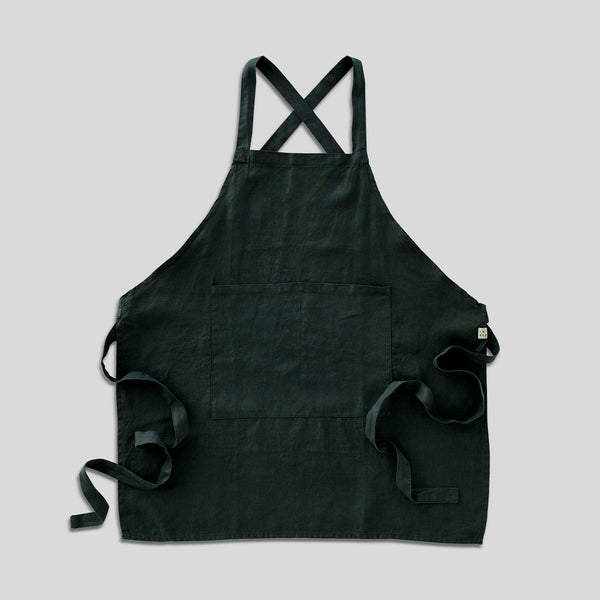 100% Linen Apron - Full Length in Pine