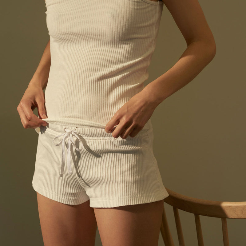 Ribbed organic cotton shorts