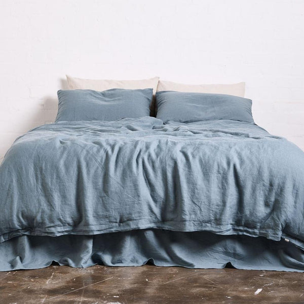 Linen Duvet Cover in Lake Blue