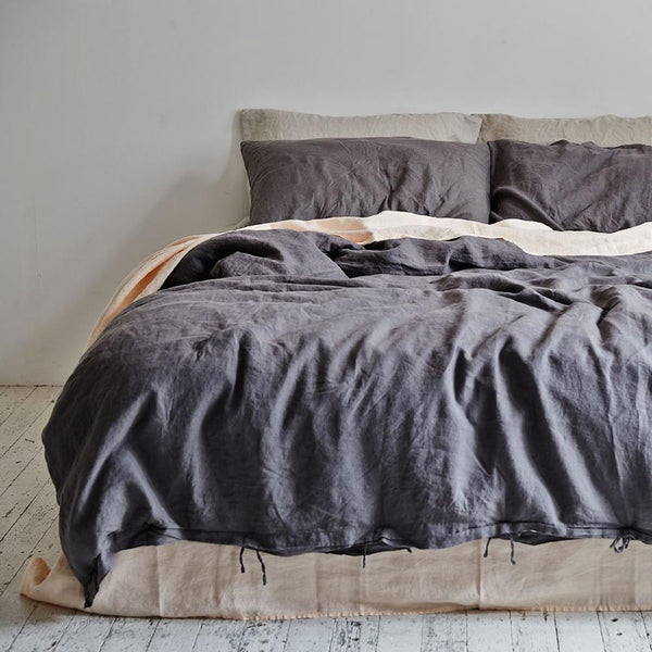 Linen Duvet Cover in Charcoal