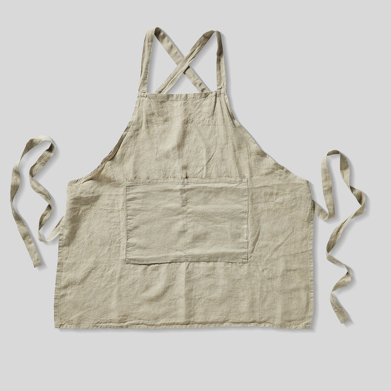 100% Linen Apron in Natural