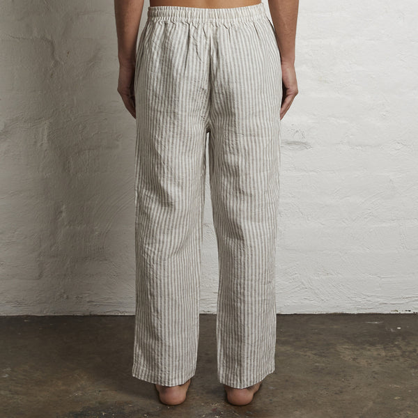 100% Linen Pants in Grey & White Stripe - Mens