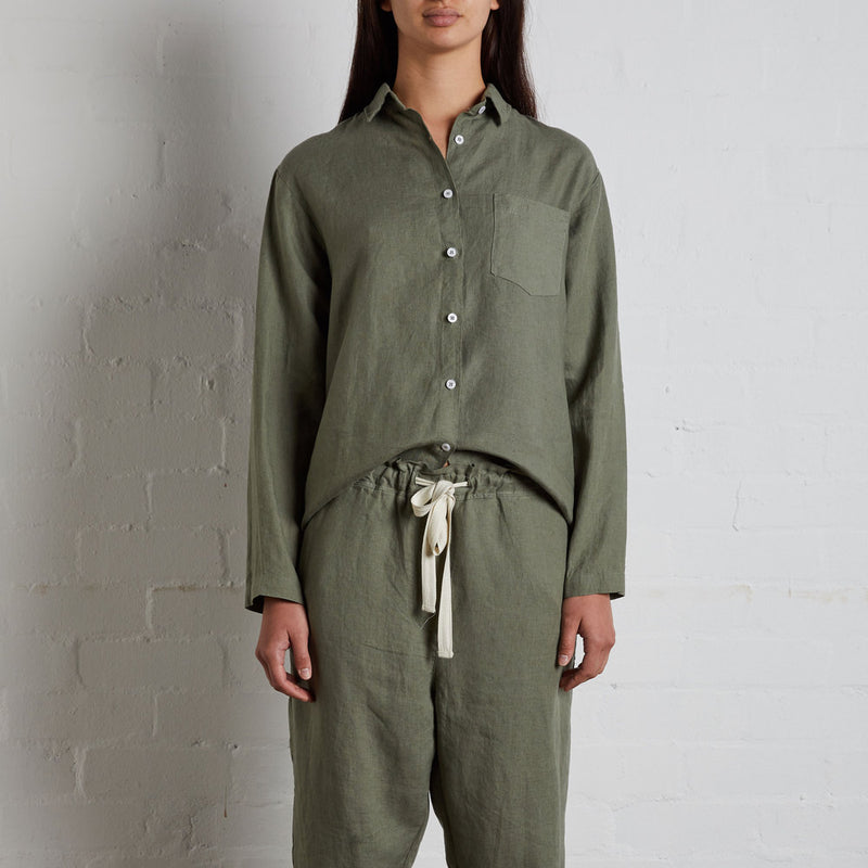 100% Linen Shirt in Khaki