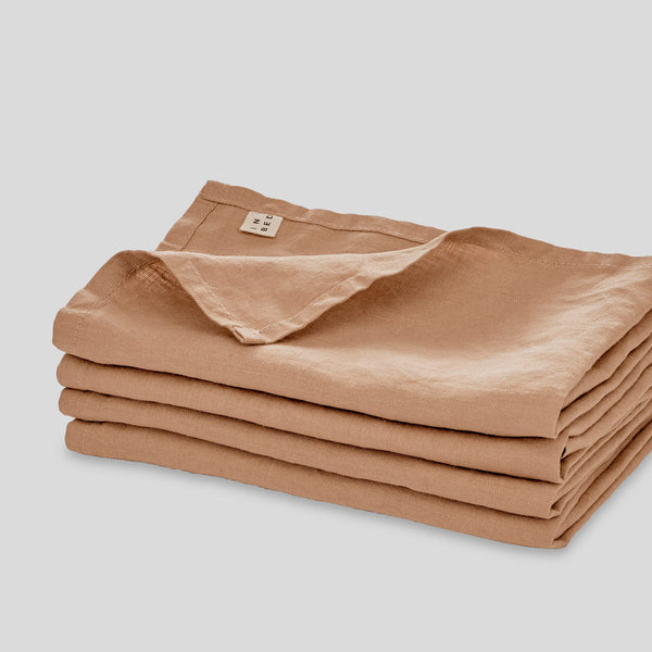 100% Linen Napkin Set in Chestnut