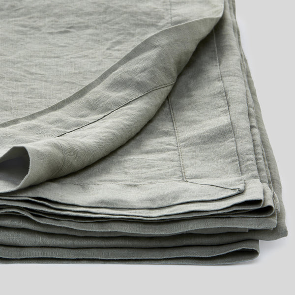 100% Linen Table Cloth In Stone