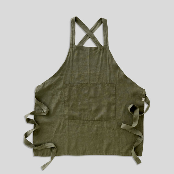 100% Linen Apron - Full Length in Khaki