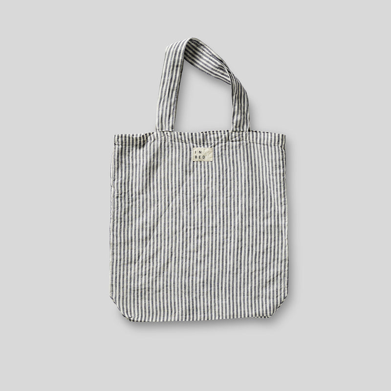 100% Linen Market Bag in Blue & White Stripe