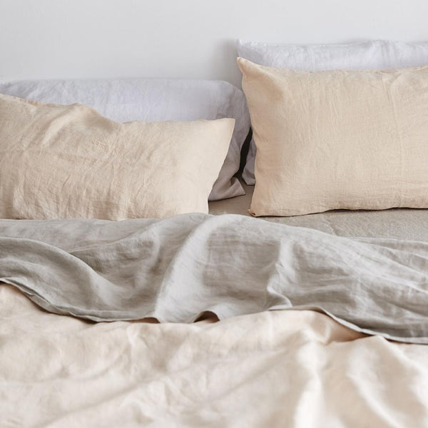 Linen Duvet Cover in Peach