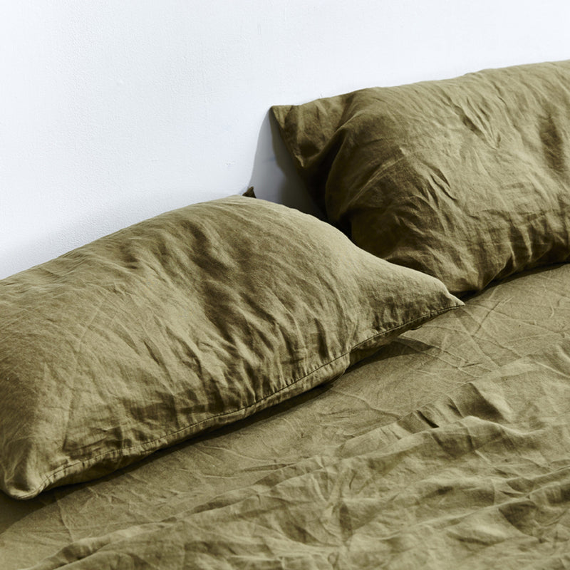 100% Linen Pillowslip Set (of two) in Moss