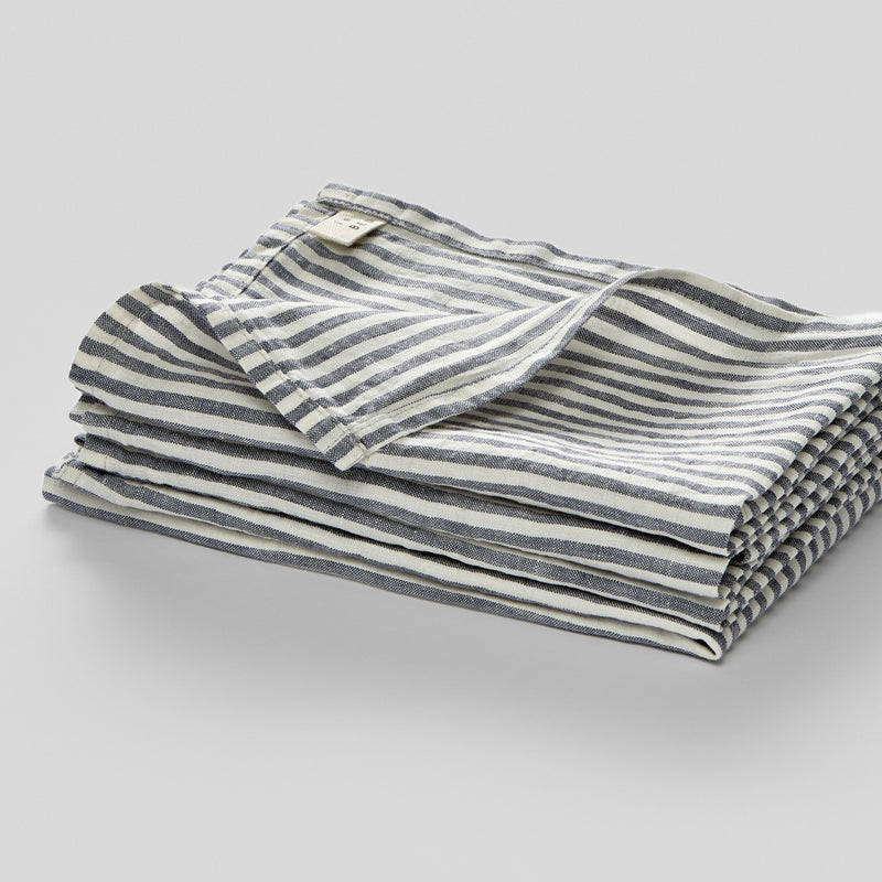 100% Linen Napkin Set in Blue & White Stripe
