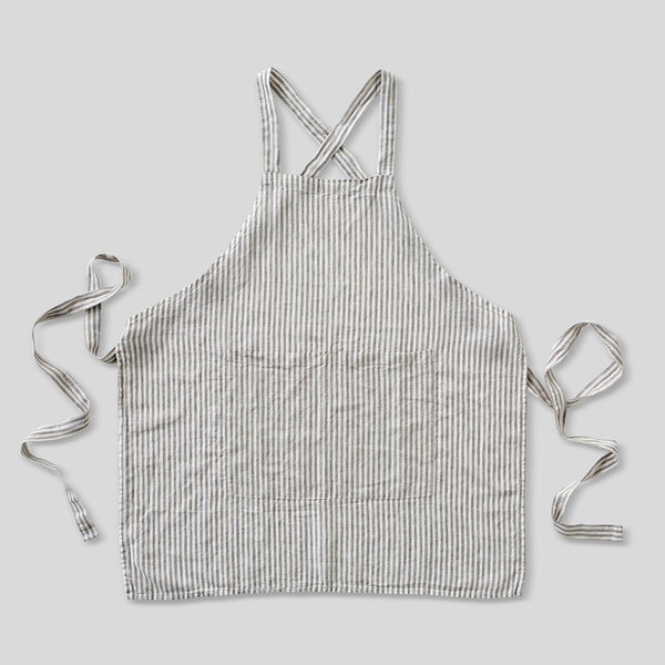 100% Linen Apron in Grey & White Stripe
