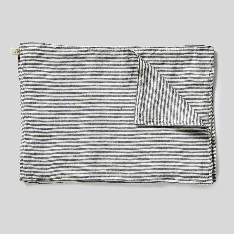 100% Linen Placemat Set in Blue & White Stripe