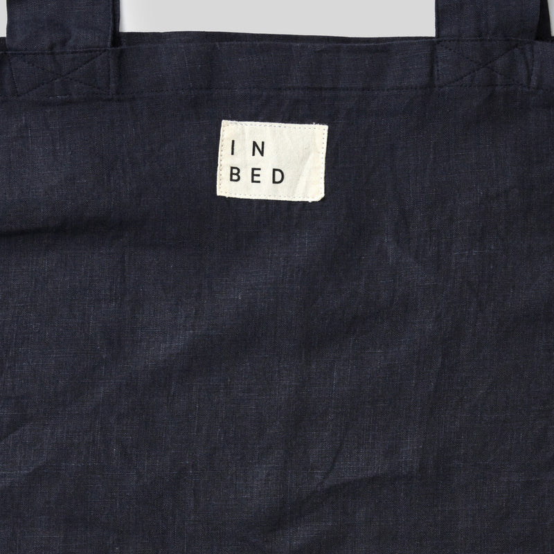 100% Linen Market Bag in Navy
