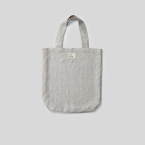 100% Linen Market Bag in Grey & White Stripe