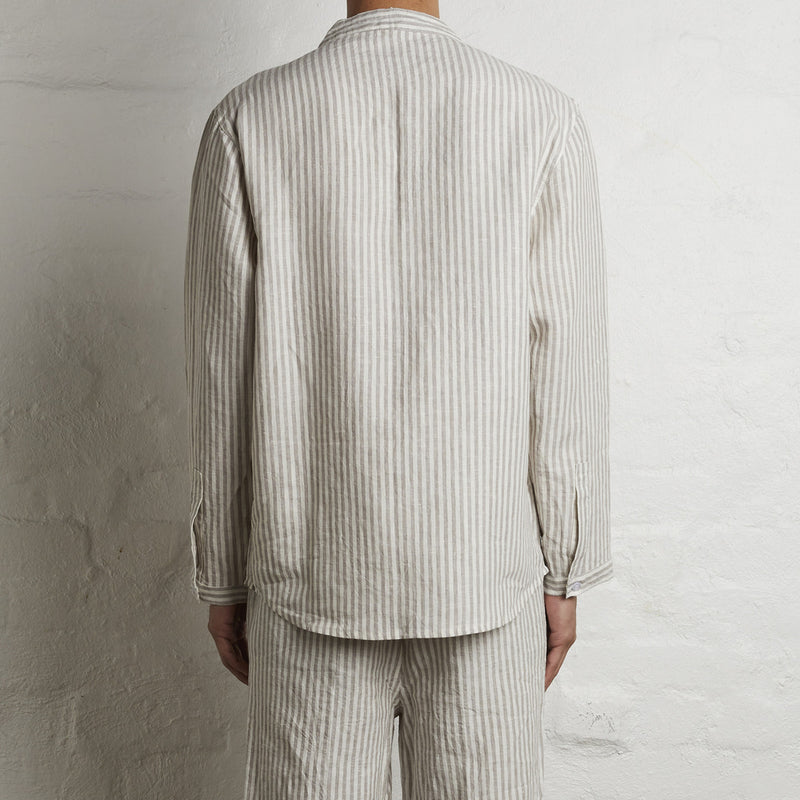 100% Linen Shirt in Stripe - Mens