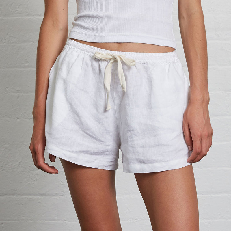 100% Linen Shorts in White