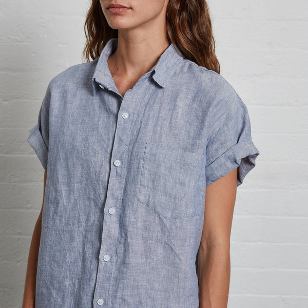 100% Linen Short Sleeve Shirt in Blue