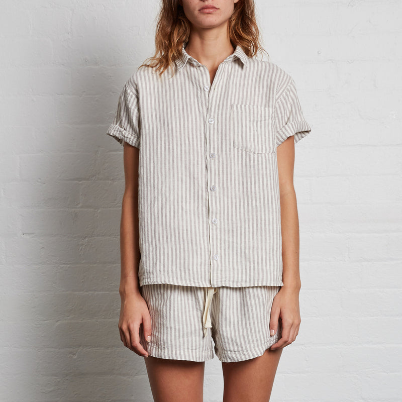 100% Linen Short Sleeve Shirt in Stripe