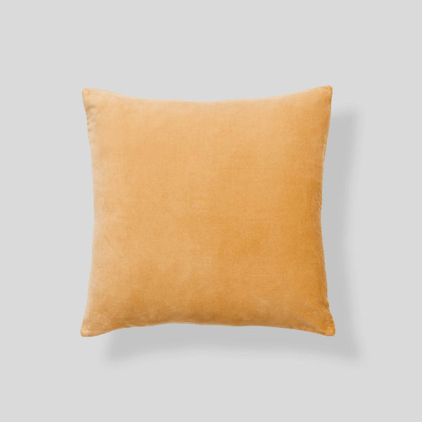 Organic cotton velvet  cushion in Turmeric - square